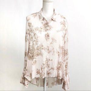 •Lauren Conrad• Hi Low White Floral Button Down